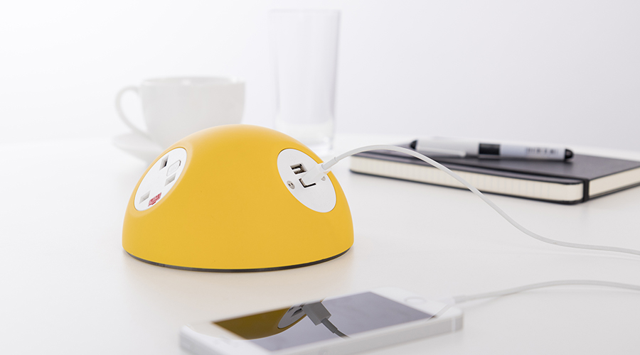 PLUTO yellow with white UK sockets and TUF charger