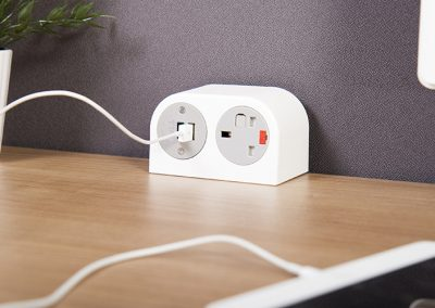 Phase with UK fused socket and TUF charger mounted on desk