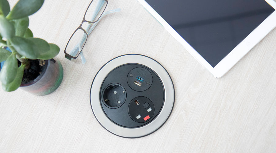 in desk power, office charging, classroom charging, meeting room charging, usb power, usb reversibility, usb power delivery, uk fused socket