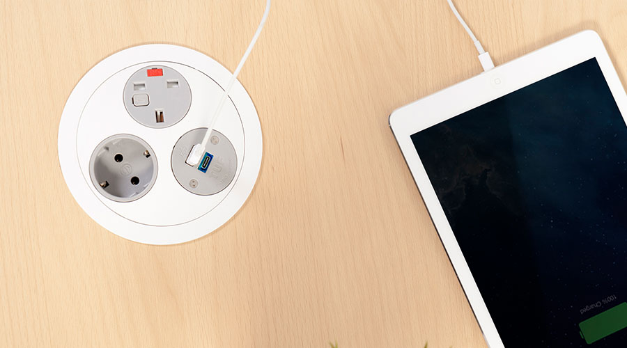in desk power, office charging, classroom charging, meeting room charging, usb power, usb reversibility, usb power delivery, uk fused socket, Type C USB charging