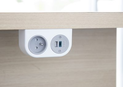 White Phase with grey Schuko socket & tuf A+C USB charger mounted under desktop