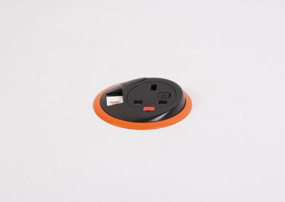 Black Pixel with UK fused socket, 1 x data and orange bezel