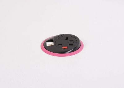 Black Pixel with UK fused socket, 1 x data and pink bezel