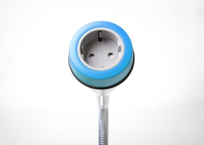 Pose with light blue bezel and grey Schuko socket