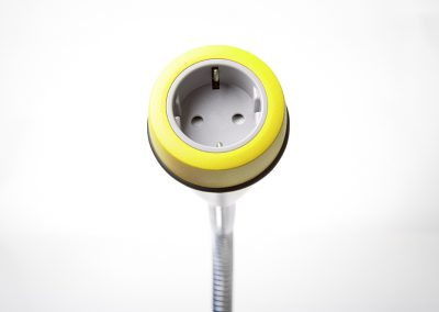 Pose with yellow bezel and grey Schuko socket