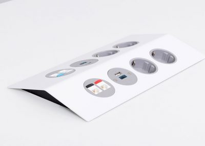 White Peak with Schuko sockets, TUF A+C USB charger and data outlets