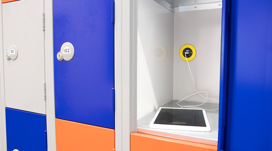 Pip in yellow with TUF5A charger in blue lockers