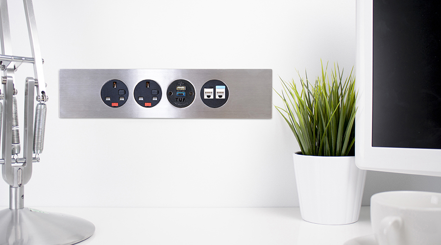 panel mounted charging, panel mounted solutions, data, av, HDMI, office charging