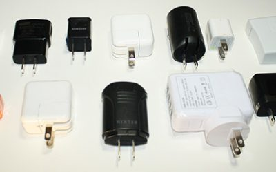 A dozen USB chargers in the lab