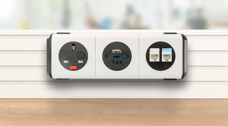 white on desk power module with UK fused socket and twin USB fast charger