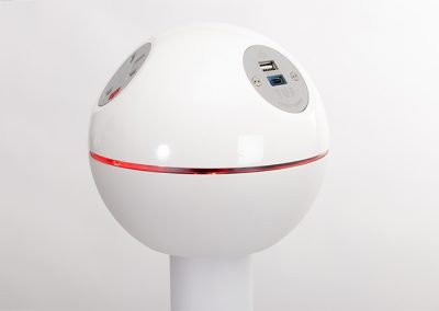 Pelican white with red LED lights, UK fused sockets and TUF A+C USB charger in grey - top