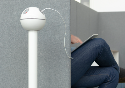 PELICAN in white with UK fused sockets & TUFA+C chargerin a breakout area with people