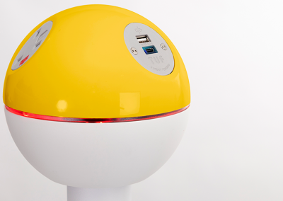 PELICAN with yellow top and UK power sockets and replacable TUF A+C USB charger with red leds